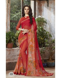 Orange Colour Georgette Printed Saree  - RKSALS826