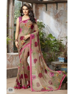 Casual Wear Beige Georgette Saree  - RKSALS828
