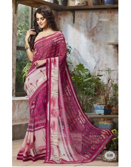 Pink Colour Georgette Printed Saree  - RKSALS829