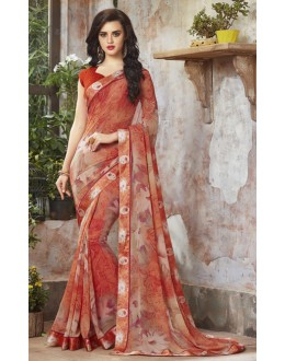 Party Wear Orange Georgette Saree  - RKSALS833