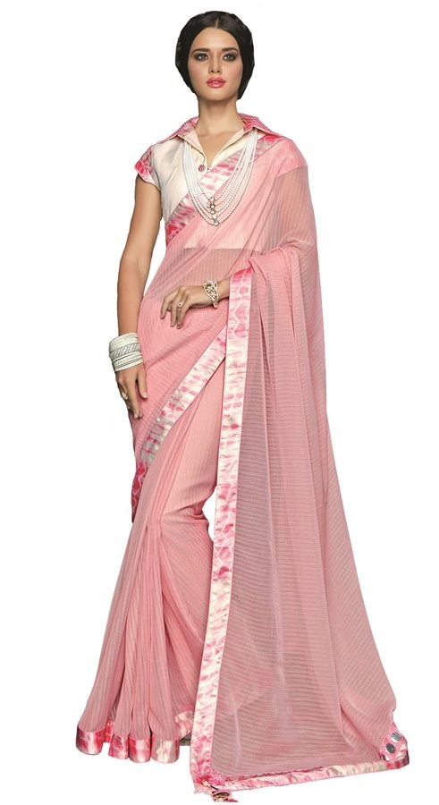 Ethnic Wear Pink & Off White Georgette Saree  - RKSAOC110