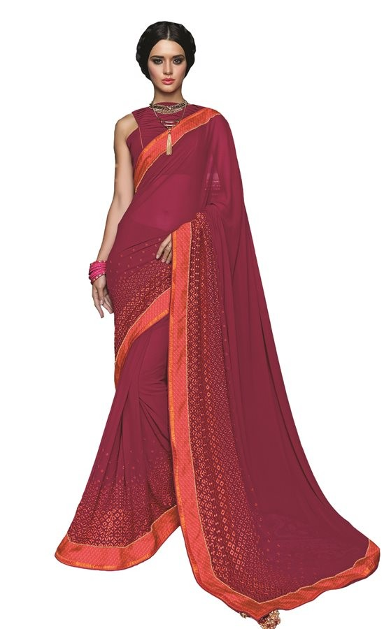 Ethnic Wear Maroon Georgette Saree  - RKSAOC115