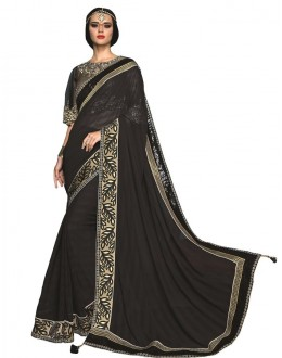 Party Wear Black Chiffon Saree  - RKSAOC121
