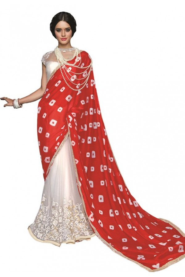 Party Wear Red & White Georgette Saree  - RKSAOC125