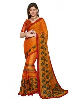 Party Wear Orange Chiffon Saree - RKSG1534