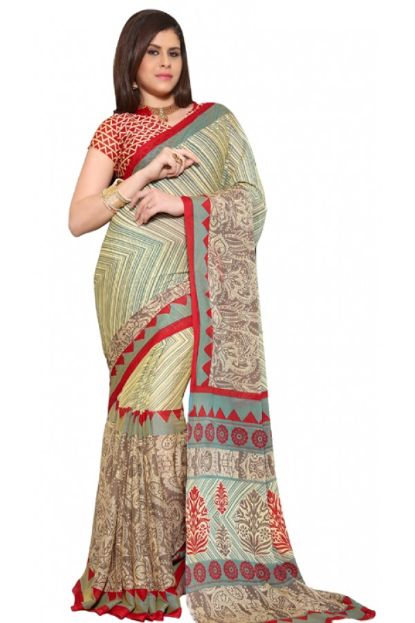 Party Wear Beige & Red Chiffon Saree - RKSG1536B