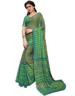 Party Wear Brown & Green Chiffon Saree - RKSG1537A