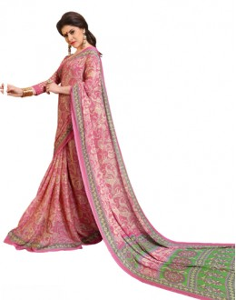 Casual Wear Pink & Green Chiffon Saree - RKSG1539B
