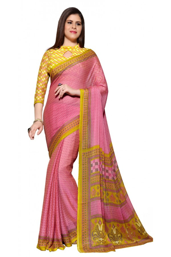 Party Wear Pink & Yellow Chiffon Saree - RKSG1540B