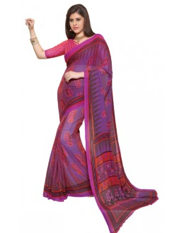 Party Wear Purple & Orange Chiffon Saree - RKSG1541B