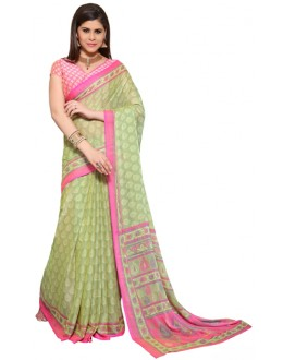 Party Wear Green & Pink Chiffon Saree - RKSG1542
