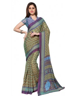Party Wear Green & Blue Chiffon Saree - RKSG1543A