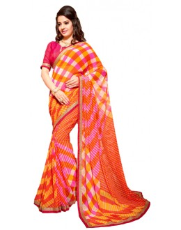 Party Wear Orange & Red Georgette Saree - RKSG1548