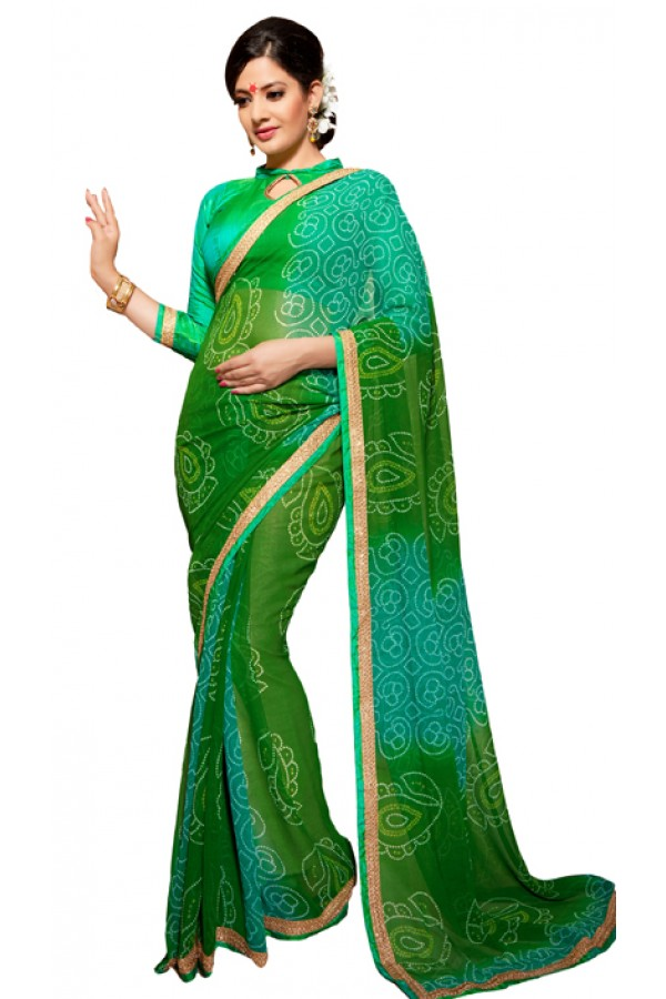 Party Wear Green Georgette Saree - RKSG1554