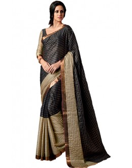 Party Wear Black & Beige Cotton Saree  - RKSPAAROHI-03