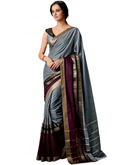 Ethnic Wear Grey & Purple Cotton Saree  - RKSPAAROHI-06