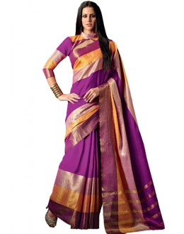 Party Wear Pink & Gold Cotton Saree  - RKSPAAROHI-07