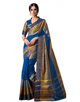 Party Wear Blue & Gold Cotton Saree  - RKSPAAROHI-08