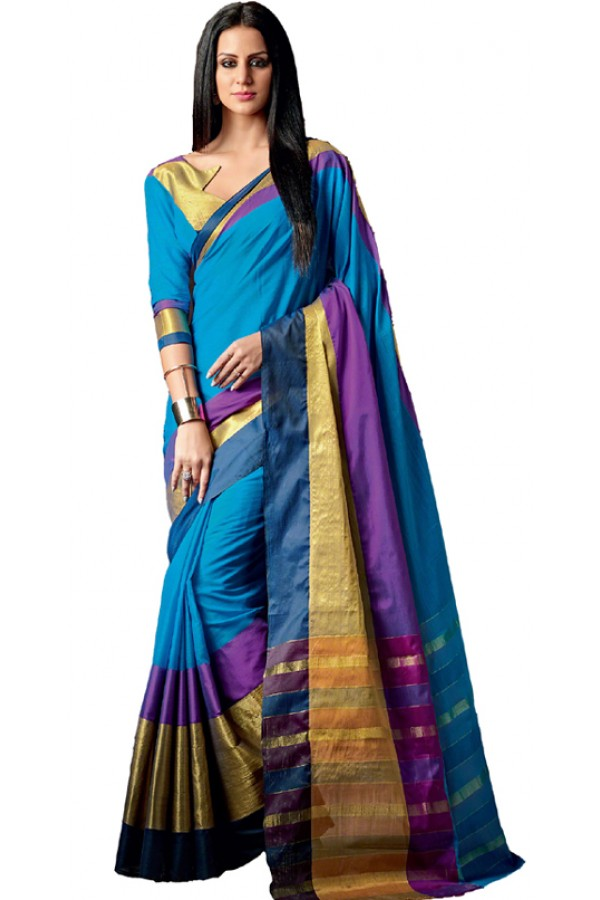 Party Wear Blue & Gold Cotton Saree  - RKSPAAROHI-11