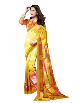 Ethnic Wear Yellow Georgette Saree - RKTMEV813