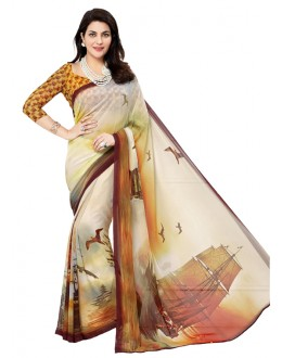 Casual Wear Beige Georgette Saree - RKTMEV815