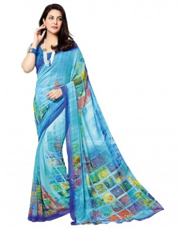 Casual Wear Blue Georgette Saree - RKTMEV820