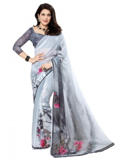 Party Wear Grey Georgette Saree - RKTMEV821