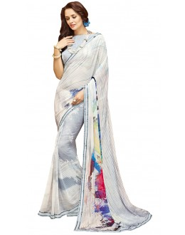 Ethnic Wear White Georgette Saree - RKTMPC4410