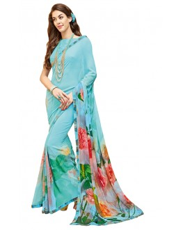 Casual Wear Blue Georgette Saree - RKTMPC4411
