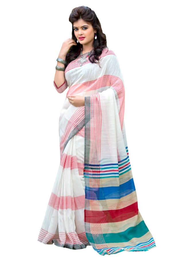 Ethnic Wear White Chiffon Silk Saree  - RKVI7001