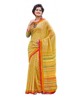 Ethnic Wear Yellow Cotton Silk Saree  - RKVI7004