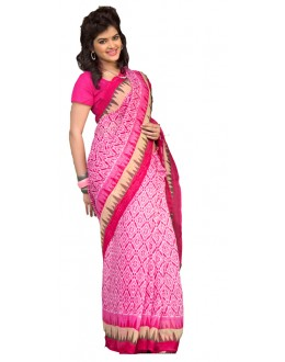 Ethnic Wear Pink & White Cotton Silk Saree  - RKVI7005