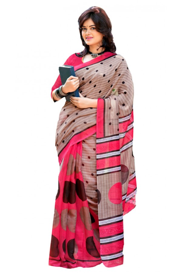 Ethnic Wear Grey & Pink Cotton Silk Saree  - RKVI7010