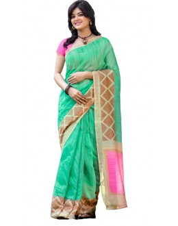 Ethnic Wear Green & Pink Cotton Silk Saree  - RKVI7014