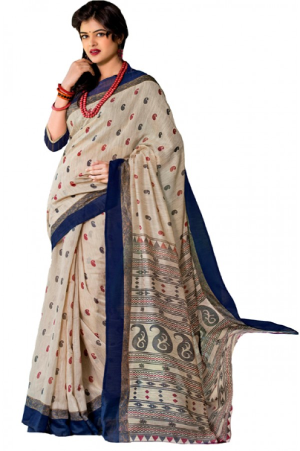 Ethnic Wear Beige & Blue Cotton Silk Saree  - RKVI7015
