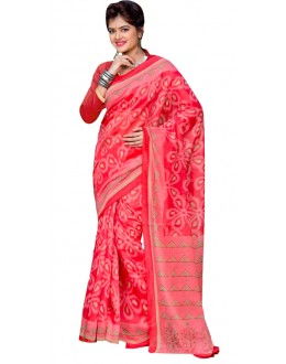 Casual Wear Pink Cotton Silk Saree  - RKVI7017