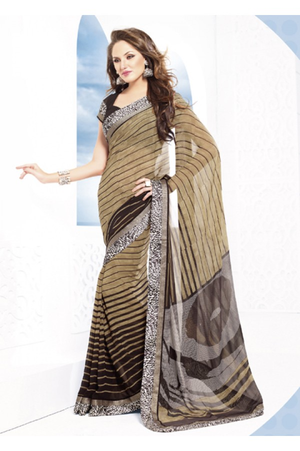Casual Wear Beige Georgette Saree  - RKVSL33136