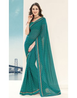Casual Wear Green Georgette Saree  - RKVSL3237