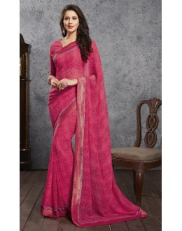 Pink Colour Georgette Printed Saree  - RKVSL6985