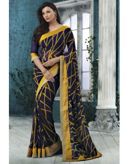 Georgette Navy Blue Printed Saree  - RKVSL6986