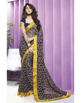 Casual Wear Navy Blue Georgette Saree  - RKVSL7147