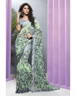 Casual Wear Green Georgette Saree  - RKVSL7151