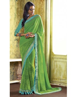 Casual Wear Green Georgette Saree  - RKVSL7155