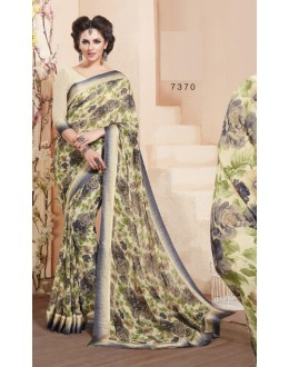 Georgette Cream Colour Printed Saree  - RKVSL7370