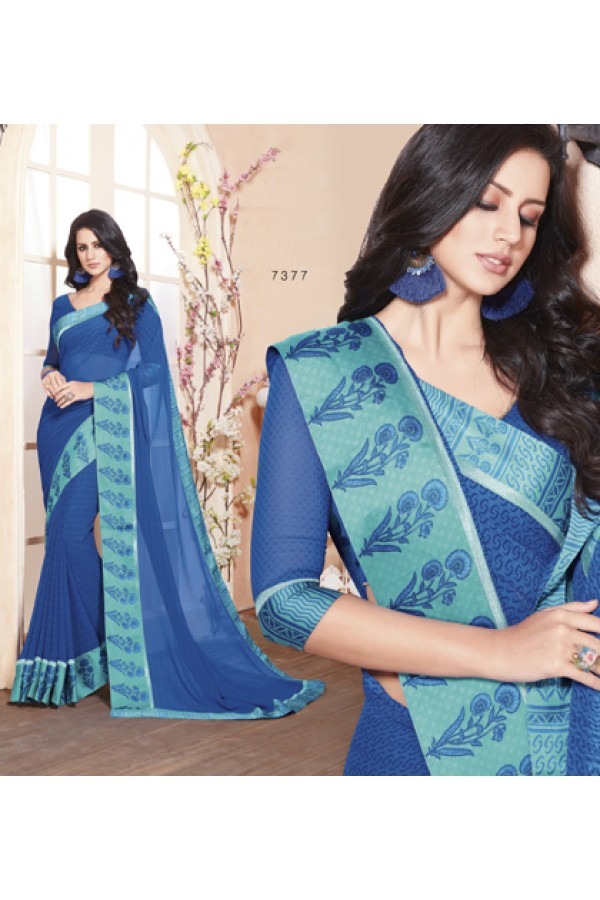 Party Wear Blue Georgette Saree  - RKVSL7377