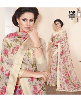 Ethnic Wear Cream Georgette Saree  - RKVSL7384