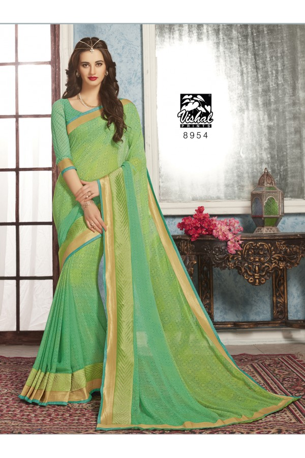 Casual Wear Green Georgette Saree  - RKVSL8954
