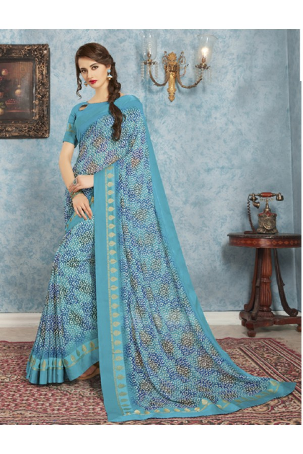 Ethnic Wear Blue Georgette Saree  - RKVSL8974