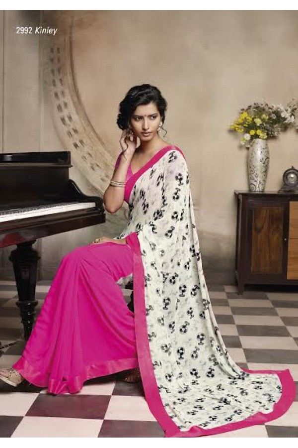 Designer Adorable White & Pink Pure Georgette Party Wear Saree-2992( FH-Laxmipati)