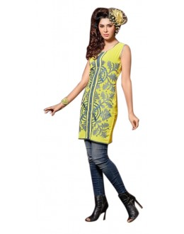 Party Wear Readymade Yellow Georgette Kurti - 60003